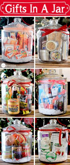 Think outside the gift basket box! A simple, creative, and inexpensive gift idea for any occasion! Gift baskets have been done to death, so give a gift in a jar this year! Check out these 10 creative ideas for heartfelt holiday gifts packed up in a jar. Holiday Crafts, Holiday Fun, Christmas Crafts, Christmas Items, Simple Christmas Gifts, Gift Baskets For Christmas, Teacher Christmas Gifts, Christmas Sweets, Creative Christmas Presents