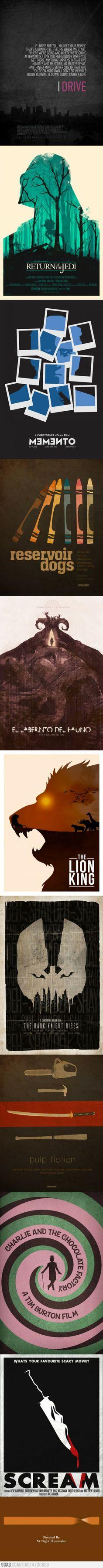 Minimalistic movie posters. Favorites: Drive, Memento, & Pan's Labyrinth (Labarintho del Fauno).