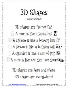 *Lil Country Kindergarten*: 3D Shapes Poem {Freebie} Great for upper elementary kiddos too!