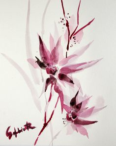 ORIGINAL Watercolor Painting. Pink Flowers. Floral by CanotStop, $72.00
