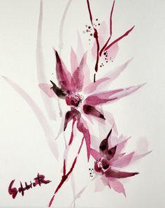 Original  Watercolor Painting. Abstract Minimalist Flowers. Violet Purple.