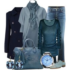 Shades of blue by thefarm on Polyvore featuring LISKA, Warehouse, Citizens of Humanity, John Fluevog, Vivienne Westwood, t. watch and Nikki Baker