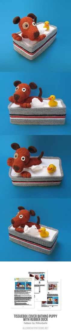 Tissuebox Cover Bathing Puppy With Rubber Duck Crochet Pattern