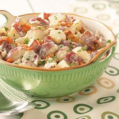 Red potato salad with bacon. We made this last summer and didn't use as much mayo, and we added hard boiled eggs. It was the best potato salad I have ever had!  I'll use turkey bacon...and a little bacon flavor goes a long ways!