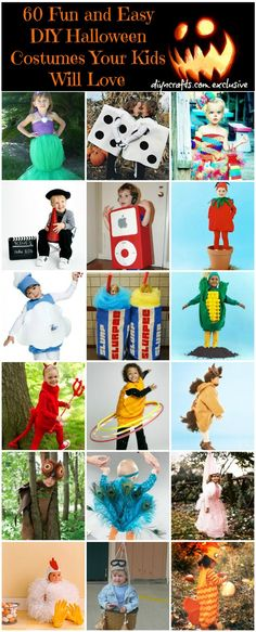 60 Fun and Easy DIY Halloween Costumes Your Kids Will Love Endless inspiration and linked DIY sources.    #Halloween #HalloweenIdeas