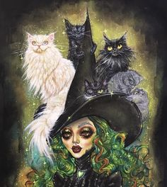 ❗️ ❗️ Let this magical portrait by of Ms. and her pack of greyscale rescued cats give you… Dustin Bailard, Witch Art, Vampire, Arte Pop, Pop Surrealism, Horror Art, Dark Art, Art Inspo, Fantasy Art