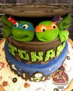 TMNT Cake. Teenage mutant ninja turtle cake