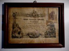 REGIO ESERCITO CERTIFICATO DI TIRATORE SCELTO ARTIGLIERIA 1890 INCORNICIATO