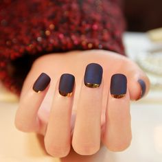 Metallic Nails  Nails  matte navy blue nails with gold stripe