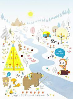 Papa bear goes camping Art Print