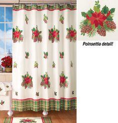 Poinsettia Bathroom Holiday Shower Curtain