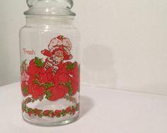 Strawberry glass cracker jar or storage jar by TreasuresFromTexas
