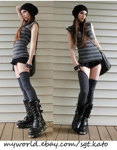 Shades of grey, slouch beanies and thigh-high socks Kato Steampunk, Steampunk Couture, Steampunk Clothing, Steampunk Fashion, Gothic Steampunk, Steampunk Necklace, Victorian Gothic, Gothic Lolita, Steam Girl