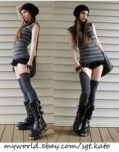 Shades of grey, slouch beanies and thigh-high socks Kato Steampunk, Steampunk Couture, Steampunk Clothing, Steampunk Fashion, Casual Steampunk, Steam Girl, Mori Girl, Mode Cyberpunk, Dark Fashion
