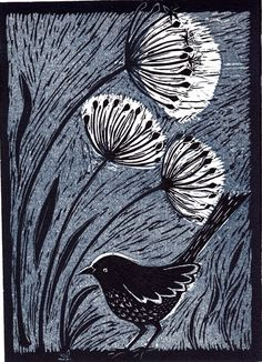 Bird with Alliums (linocut, edition of 20) | Mary Hick | An image is drawn onto a piece of linoleum. Then the areas that are to appear blank in the final print are cut away with sharp chisels. Ink is rolled onto the uncut areas and the lino is pressed onto paper | The uncut surface gradually decreases as more areas are cut away, so there is a limit to how many layers can be combined. An alternative method is to use several lino plates, each one inked with a different colour