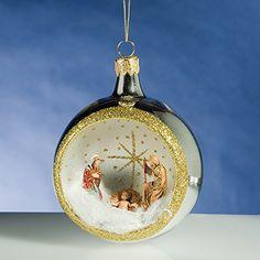 De Carlini Silver Round Nativity Creche Italian Mouthblown Glass Christmas Ornament