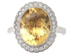 4.15 ct Citrine and 0.28 ct Diamond, 18 ct White Gold Dress Ring - Vintage Circa 1960 SKU: A3482 Price GBP £1,395.00 http://www.acsilver.co.uk/shop/pc/4-15-ct-Citrine-and-0-28-ct-Diamond-18-ct-White-Gold-Dress-Ring-Vintage-Circa-1960-35p7727.htm#.VkICHr88rfc