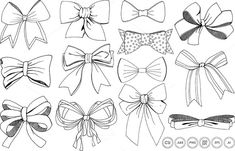 Bows & Ribbons Line Art + Silhouette Clip Art - Vector, PNG and Photoshop Brushes! by FishScraps on Creative Market