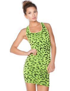Neon leopard print dress