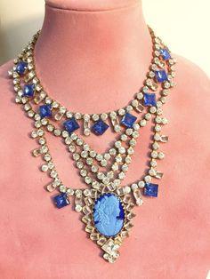 Vintage Rhinestone Necklace CAMEO Crystal Open back Settings Blue White #unbranded #bib