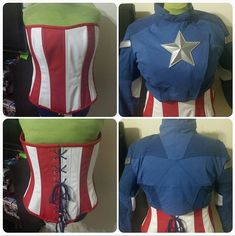 Captain America Jacket and Corset by imatangelo on deviantART...I like the idea of having a Red and White shirt underneath a Blue jacket