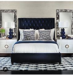 Looking for modern bedroom ideas with furniture and decor? Explore our beautiful bedroom room ideas for interior design inspiration. Room Ideas Bedroom, Bedroom Colors, Home Decor Bedroom, Modern Bedroom, Bedroom Furniture, Girls Bedroom, Furniture Ideas, Navy Bedrooms, Cottage Bedrooms