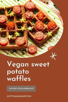 These vegan sweet potato waffles are a perfect savoury breakfast or Saturday brunch idea. They're quick and easy to make as they require only a few simple ingredients and they come together in 30 minutes. These vegan sweet potato waffles are healthy and filling and they can be made gluten-free, too! Spiced with cumin and smoked paprika, they're fluffy on the inside and perfectly crispy on the outside. Vegetarian Potato Recipes, Vegan Brunch Recipes, Vegetarian Brunch, Delicious Vegan Recipes, Savory Waffles, Sweet Potato Waffles, Savory Breakfast, Best Vegan Waffle Recipe, Vegan Gingerbread Cookies
