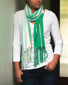 Fun Fringe Scarf  - Free Sewing Pattern. This one is great for beginners or someone looking for a quick gift to make!
