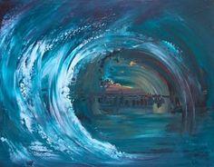 Paradise Painting, Original Paintings, Original Art, Surfer, Blue Painting, Sewing Art, Chalkboard Art, Blue Art, Acrylics