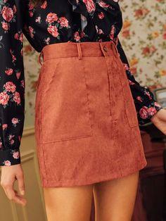 Women Pocket Side Corduroy Skirt Without Belted - Kidenmall Skirt Belt, Knit Skirt, Corduroy Skirt, Denim Mini Skirt, A Line Skirts, Mini Skirts, Inspiration Mode, Floral Print Skirt, Swing Skirt