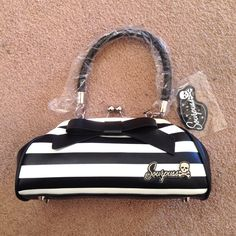 Sourpuss black white retro pinup striped purse nwt Brand NEW NEVER USED Sourpuss handbag! NO TRADES Sourpuss Bags
