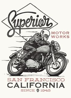 Superior Motorworks by Damian King, via Behance #illustration #design #motorcycles #motos | caferacerpasion.com