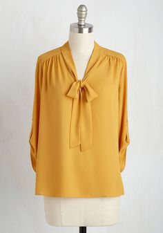 Careerist and Dearest Top in Saffron - Yellow, Solid, Tie Neck, Work, 3/4 Sleeve, Woven, Better, Variation, V Neck, Mid-length