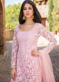 Pink Thread Embroidered Gharara Suit Source by BlousesLight Pink Thread Embroidered Gharara Suit Source by Blouses Michelle Mason Ruched Mini Dress in Clover Indian Fashion Dresses, Dress Indian Style, Indian Gowns, Indian Designer Outfits, Designer Dresses, Dress Designs For Girls, Kids Blouse Designs, Net Dress Design, Punjabi Dress Design