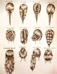 I'm stuck between something like the middle row, third one over and the bottom left. - Click image to find more hair posts Ombré Hair, Hair Day, Braid Hair, Bun Braid, Messy Braids, Dye Hair, Fishtail Ponytail, Simple Braids, Prom Hair