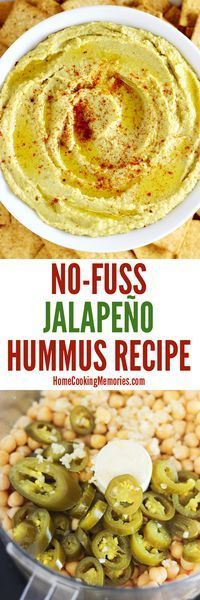 This easy No-Fuss Jalapeno Hummus recipe can be made in less than 5 minutes — just blend all the ingredients in a food processor and it's ready to Jalapeno Hummus, Jalapeno Recipes, Jalapeno Sauce, Vegetarian Recipes, Cooking Recipes, Healthy Recipes, Pesto, A Food, Food And Drink