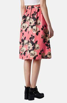 Topshop Textured Rose Print Midi Skirt | Nordstrom