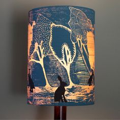 Drum lampshade british woodland fabric covered lamp shade 19cm up designer lamp shade hand printed in the uk aloadofball Choice Image