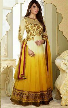 Shaded Cream and Yellow  Bollywood Salwar Kameez