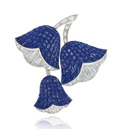 A 'mystery-set' sapphire and diamond 'campanule' brooch, by Van Cleef & Arpels.