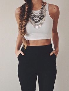 Crop top, leggings, statement jewellery