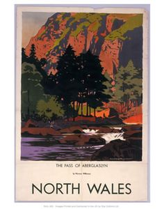 Fine Art Print-The Pass of Aberglaslyn, Gwynedd, North Wales, LMS poster, Fine Art Print on Paper made in the UK Posters Uk, Railway Posters, Fine Art Prints, Framed Prints, Canvas Prints, National Railway Museum, North Wales, Vintage Travel Posters, Poster Size Prints