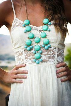 white lace dress + bubble turquoise necklace