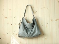 Leather bag crossbody bag - MAX in grey by Adeleshop on Etsy