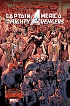 """Capitán América y los Poderosos Vengadores 21Prólogo a """"Secret Wars"""". Estas son las historias del fin del mundo y de la gente que encaró ese final unida. Algunos vestían trajes de superhéroes. Otros no. Algunos tenían superpoderes. Otros no. Eran los Poderosos Vengadores. Y esto es lo que hicieron cuando llegó el último día."""
