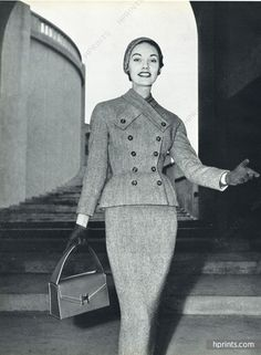 Fashion Ideas For Work Givenchy (Couture) 1953 tailleur en Tweed, Photo Guy Arsac, Herms (Handbag)