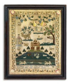 Sampler, Elizabeth Stine (b. 1784), Philadelphia, Pennsylvania, Dated 1793-- probably a German girl given her surname and the similarity of a sampler in the collection of the Schwenkfelder Heritage Center