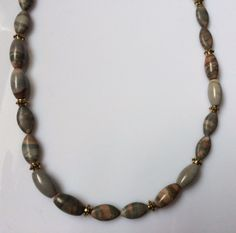 Mens Grey and Brown Stone Beaded Necklace