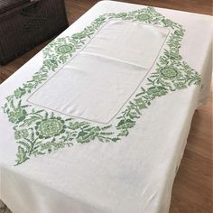 Vintage Linen Tablecloth With Embroidery White Linen