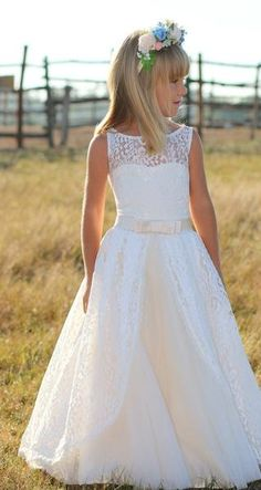 c80de03f52f Flower Girl- Sleeveless Lace Over Tulle Dress with Satin Waistline   Bow  Detail